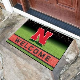 Nebraska  University Flocked Rubber Doormat - 18 x 30