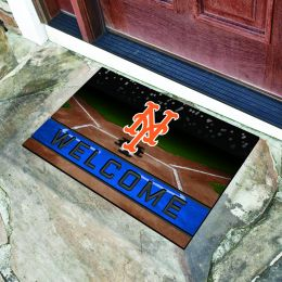 New York Mets Flocked Rubber Doormat - 18 x 30