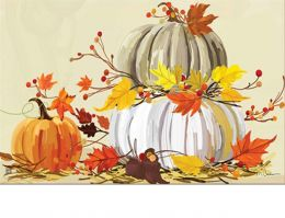 Indoor & Outdoor Neutral Pumpkins MatMate Doormat-18x30