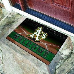 Oakland Athletics Flocked Rubber Doormat - 18 x 30