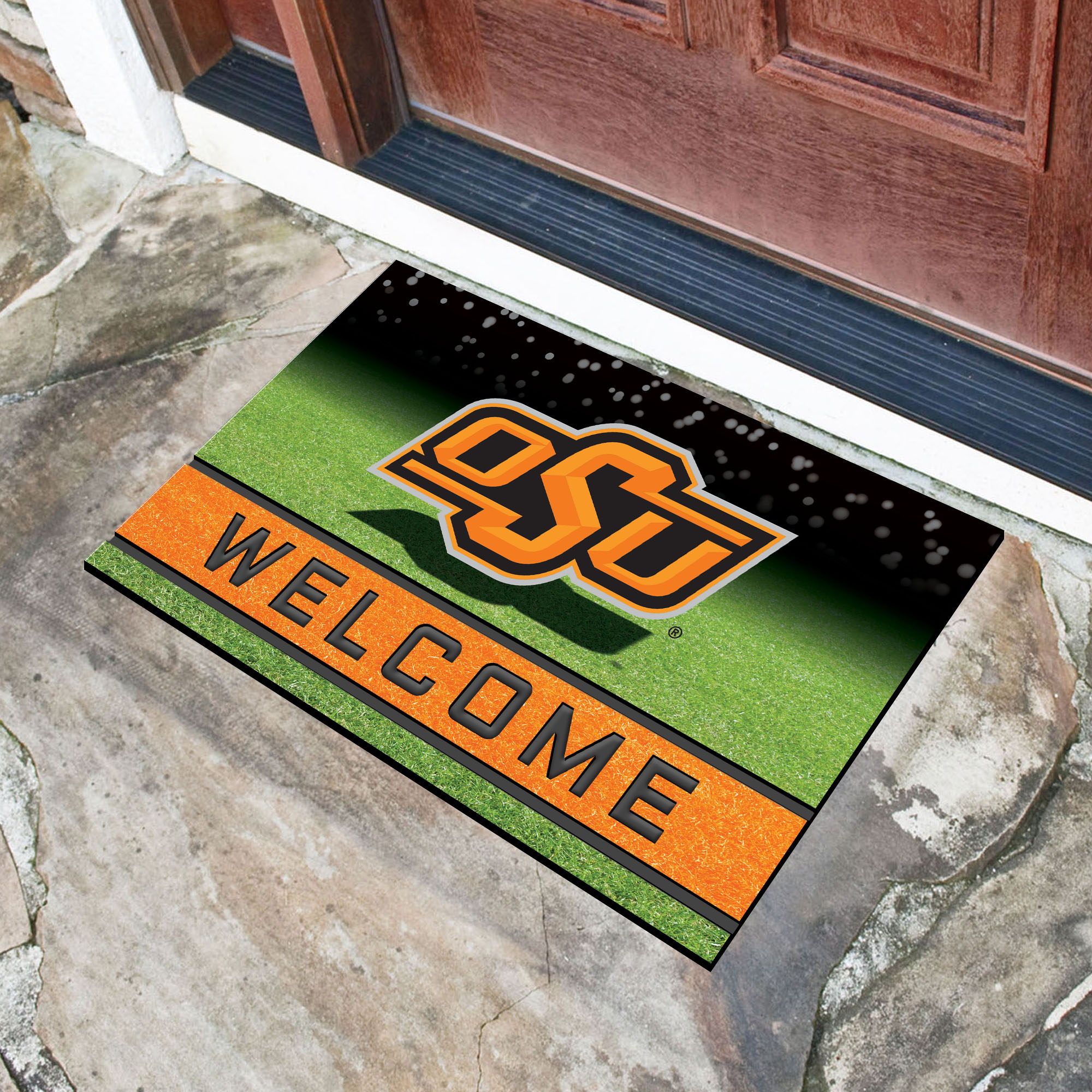 Oklahoma State  University Flocked Rubber Doormat - 18 x 30