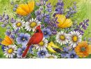 Floral Embossed Oriole & Cardinal Doormat - 19 x 30