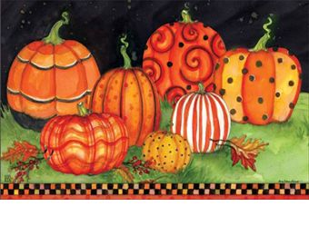 Indoor/Outdoor Painted Pumpkins MatMates Doormat - 18 x 30