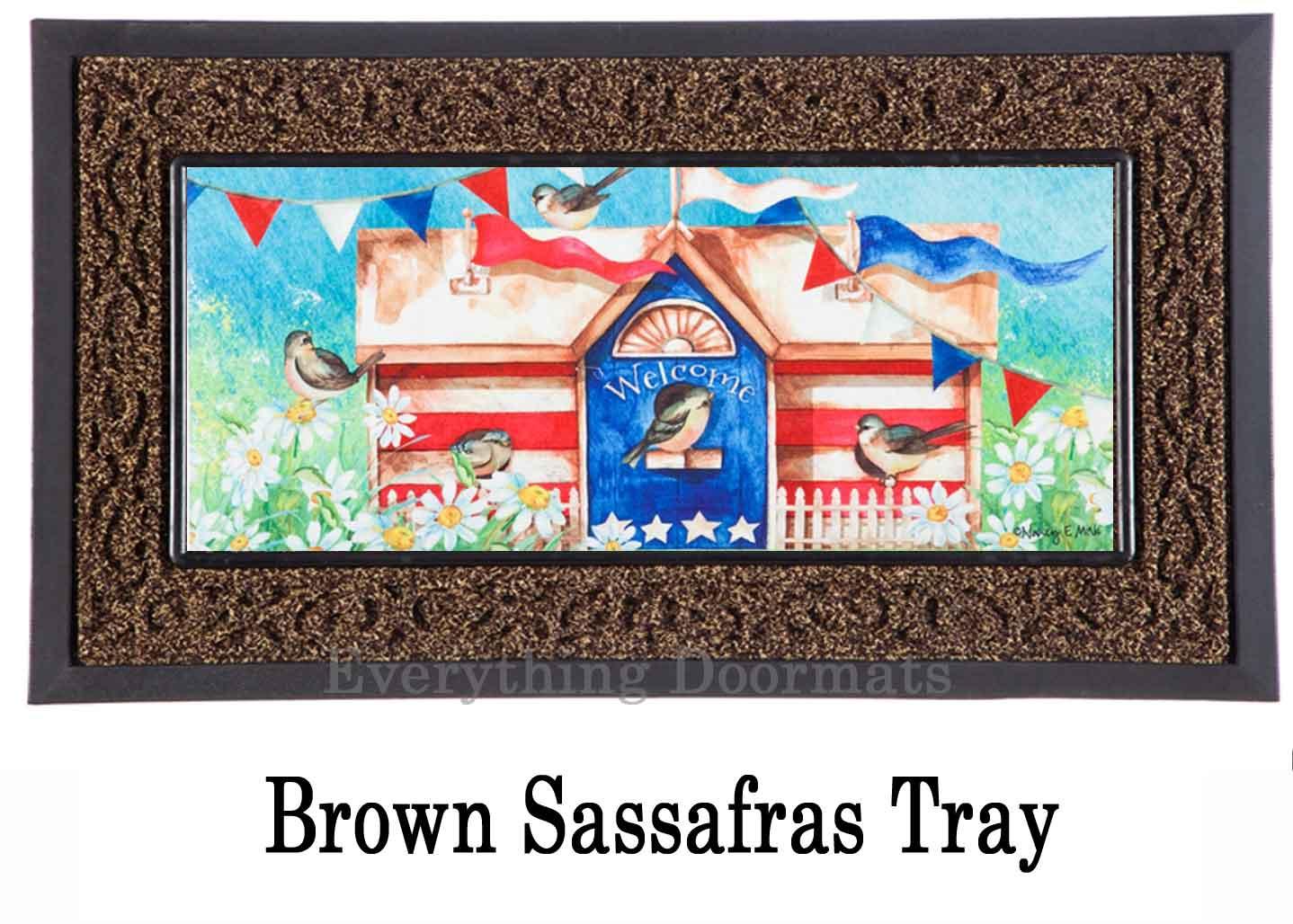 Sassafras Patriotic Birdhouse Mat 10 X 22 Insert Doormat