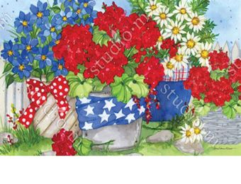 Indoor & Outdoor Patriotic Floral MatMate Doormat-18x30
