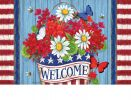 Indoor & Outdoor Patriotic Flowers Insert Doormat - 18x30