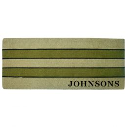 Personalized Pistachio Striped Coco Coir Doormat - 24x57
