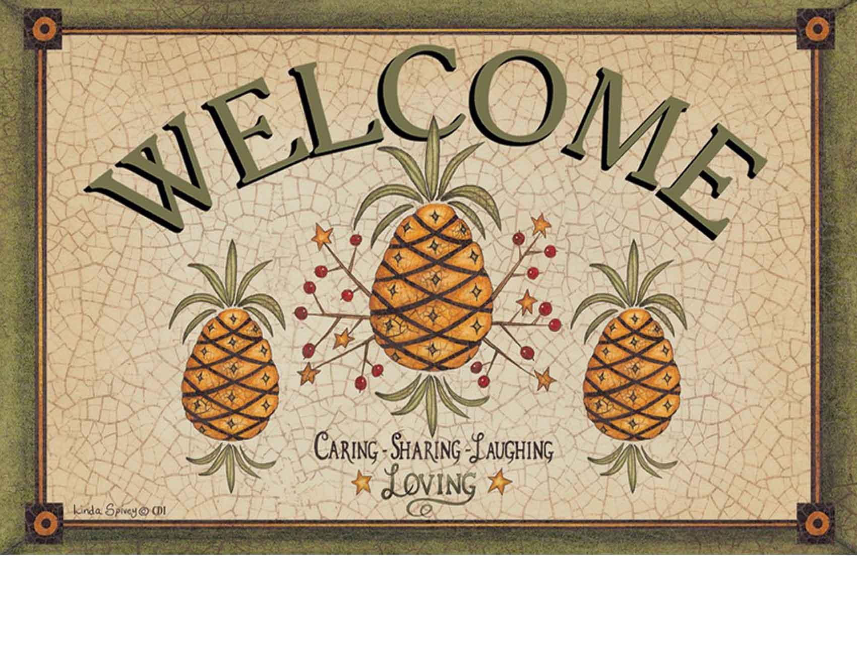 Indoor Amp Outdoor Pineapple Welcome Insert Doormat 18 X 30