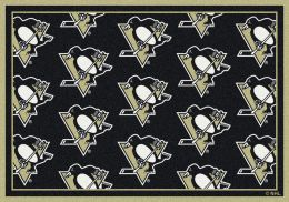 Pittsburgh Penguins NHL Repeating Logo Nylon Area Rug
