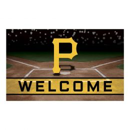 Pittsburgh Pirates Flocked Rubber Doormat - 18 x 30