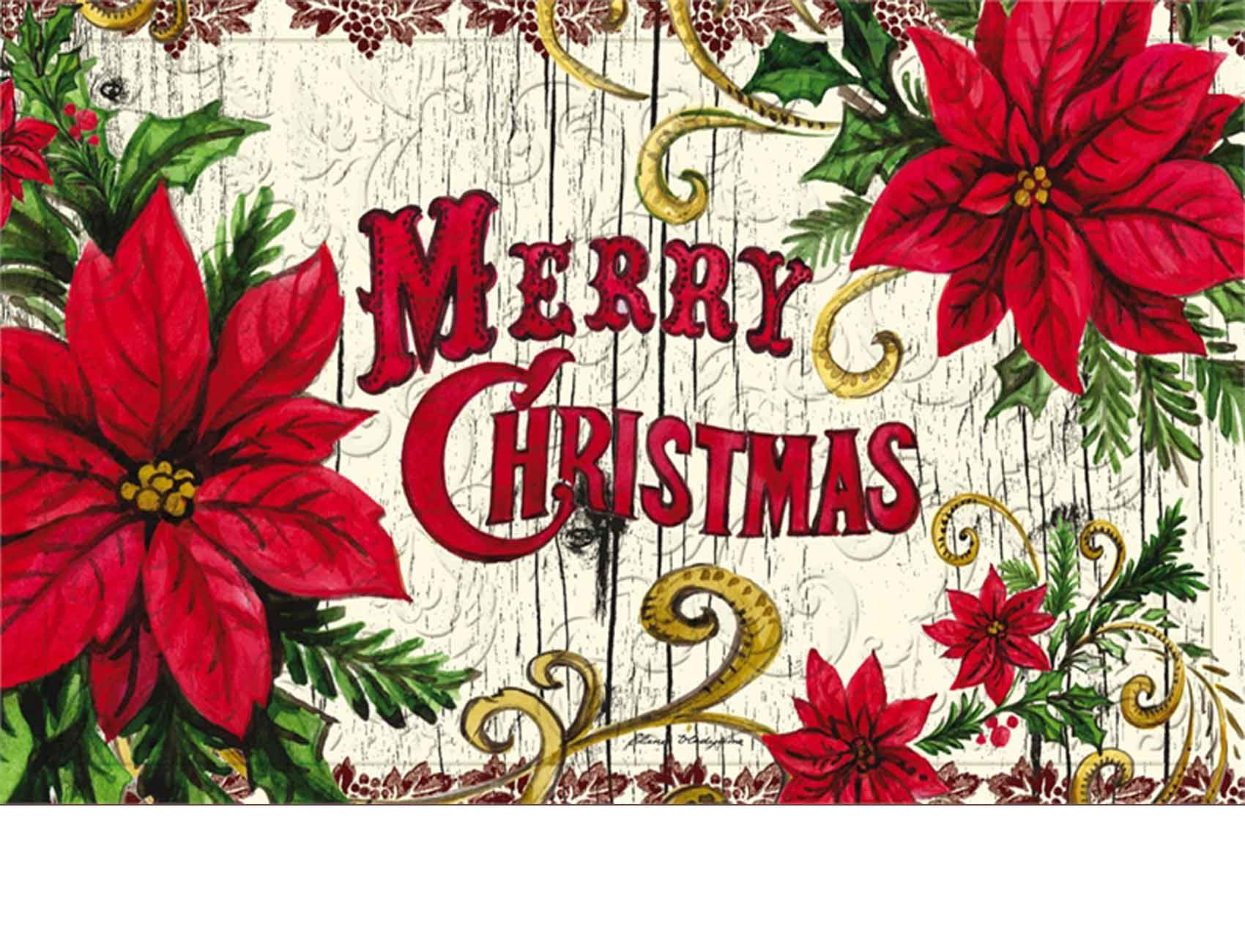 Trellis Embossed Poinsettia Merry Christmas Doormat 19 X 30