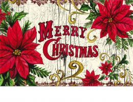 Trellis Embossed Poinsettia Merry Christmas Doormat - 19 x 30