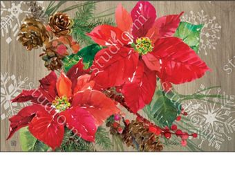 Indoor & Outdoor Poinsettia with Pine Cones MatMate Doormat