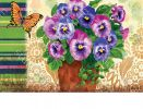 Indoor & Outdoor Pretty Pansies MatMate Doormat-18x30