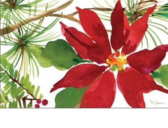 Indoor & Outdoor Pretty Poinsettia MatMate Doormat-18x30