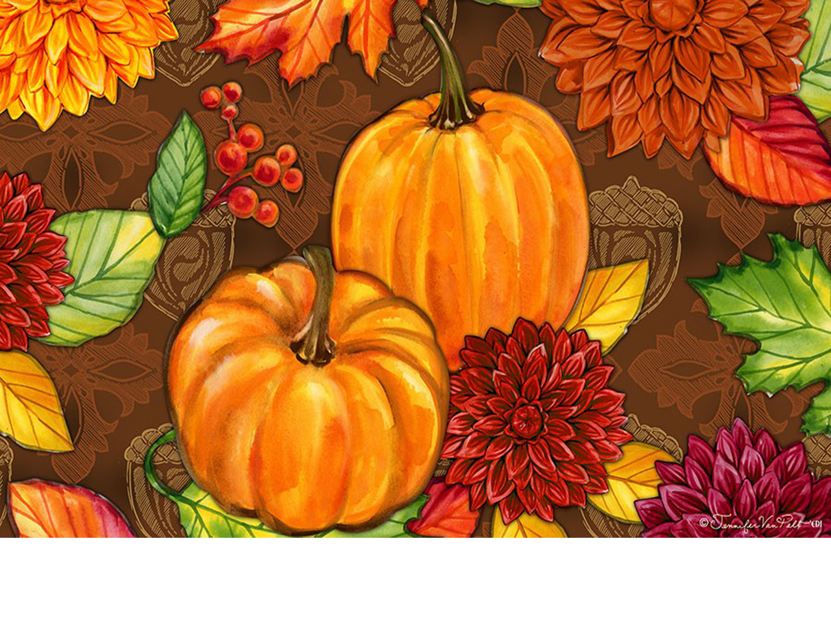 Indoor Amp Outdoor Insert Doormat Pumpkins And Leaves