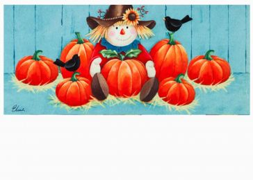 Pumpkins and Scarecrows Sassafras Mat - 10 x 22 Insert Doormat