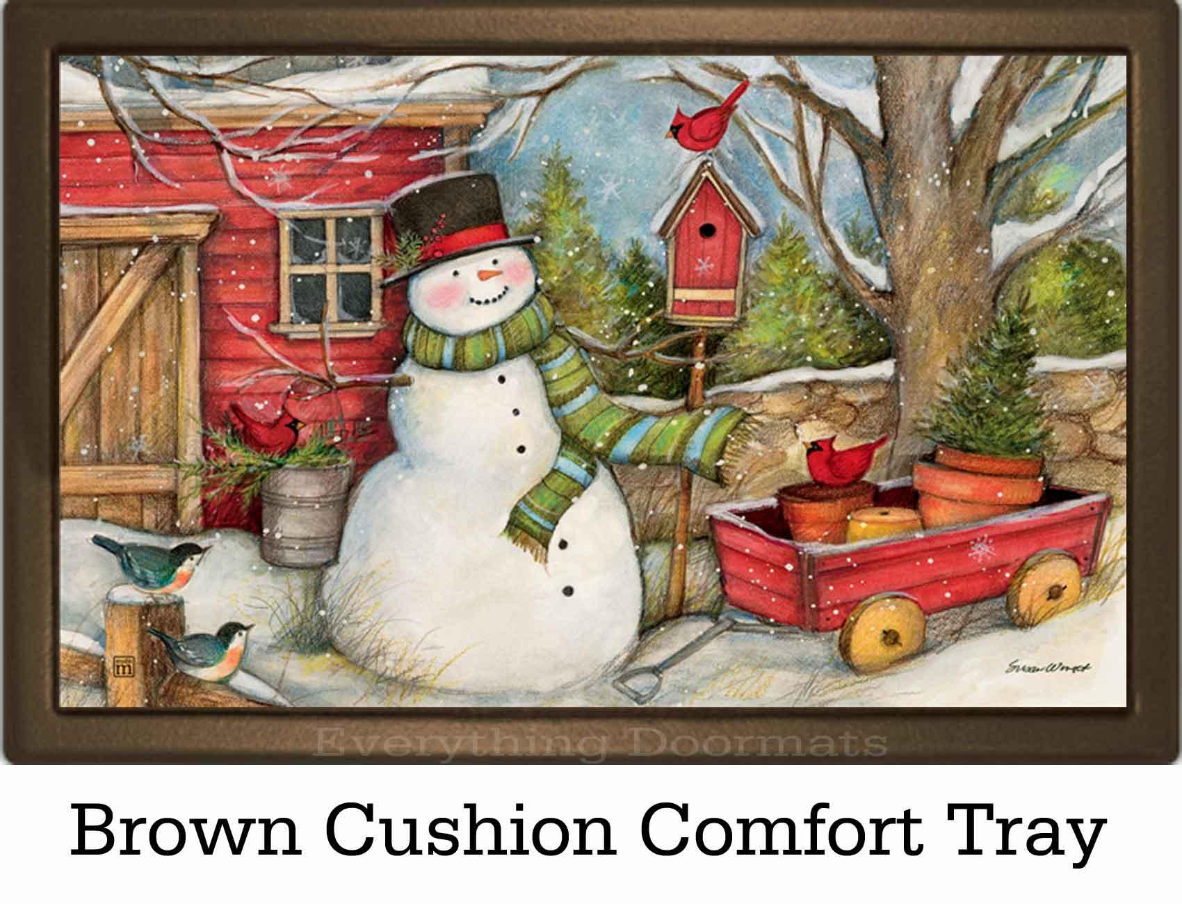 Indoor Amp Outdoor Red Barn Snowman Matmate Doormat 18x30
