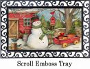 Indoor & Outdoor Red Barn Snowman MatMate Doormat-18x30