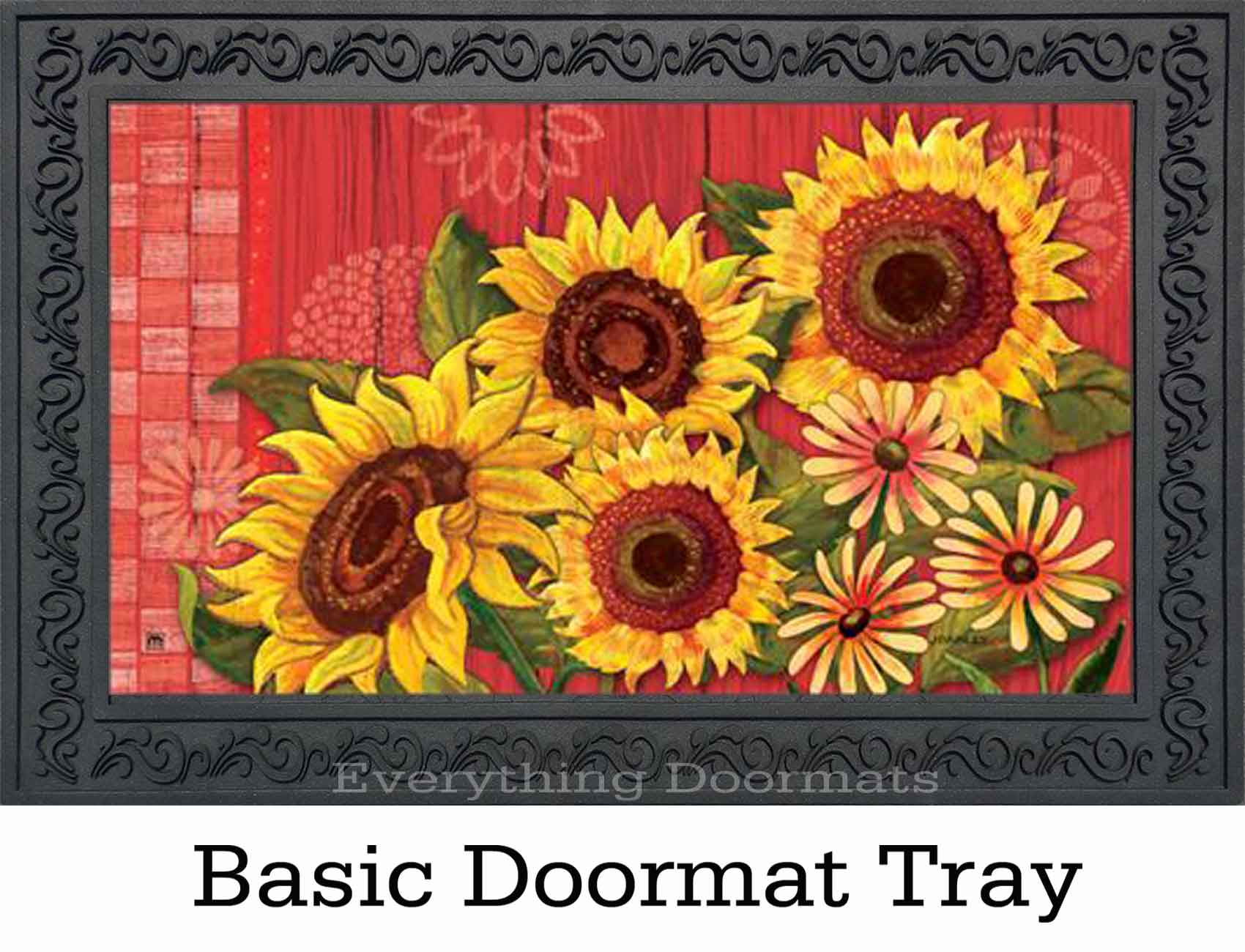 Indoor Amp Outdoor Red Barn Sunflower Matmate Doormat 18x30