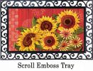 Indoor & Outdoor Red Barn Sunflower MatMate Doormat-18x30