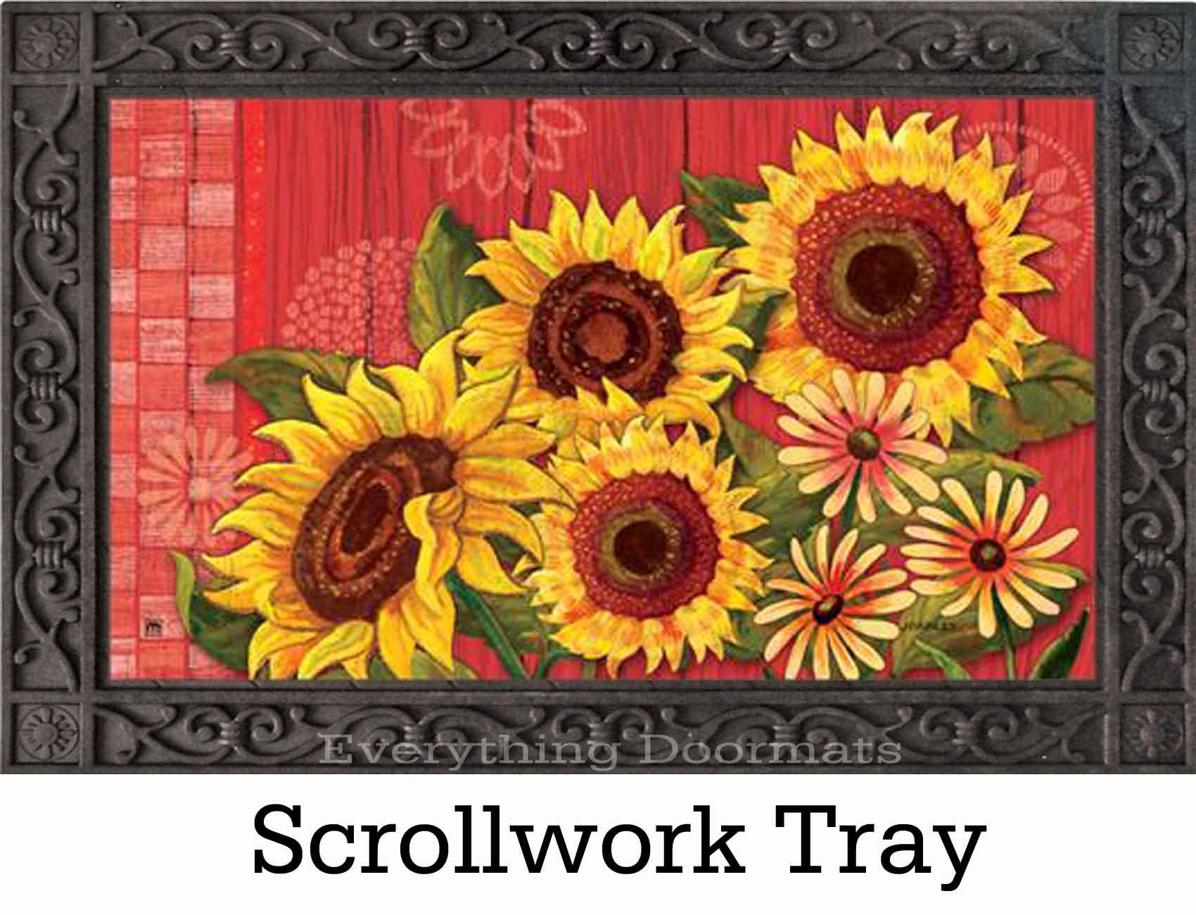 Indoor Amp Outdoor Red Barn Sunflower Matmate Doormat 18x30