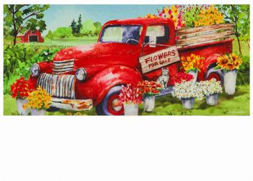 Sassafras Red Flower Truck Switch Mat - 10 x 22 Insert