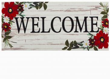 Sassafras Red Floral Welcome Mat - 10 x 22 Insert Doormat