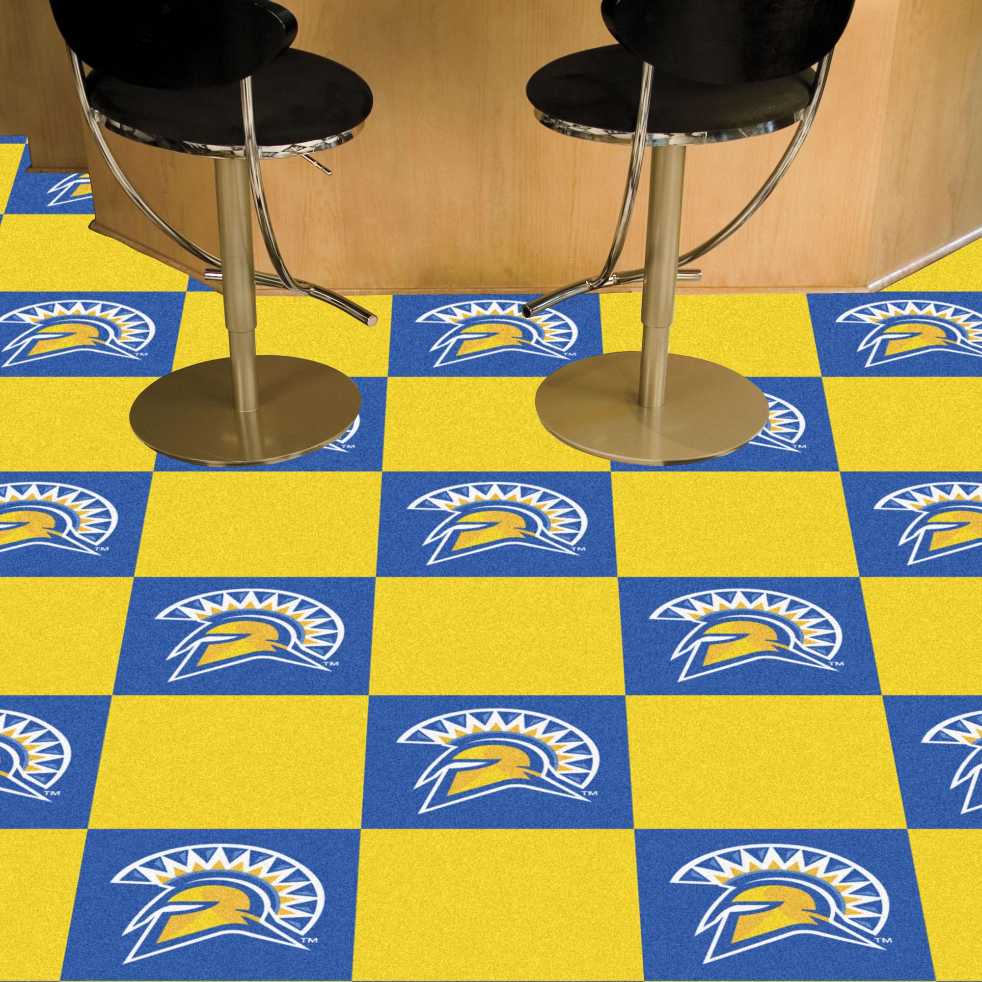 Sjsu Spartans Team Carpet Tiles 45 Sq Ft