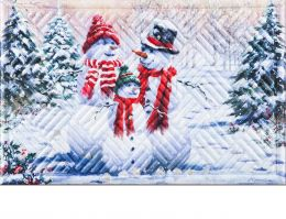 Hatch Embossed Snow Family Dimensions Doormat - 19 x 30