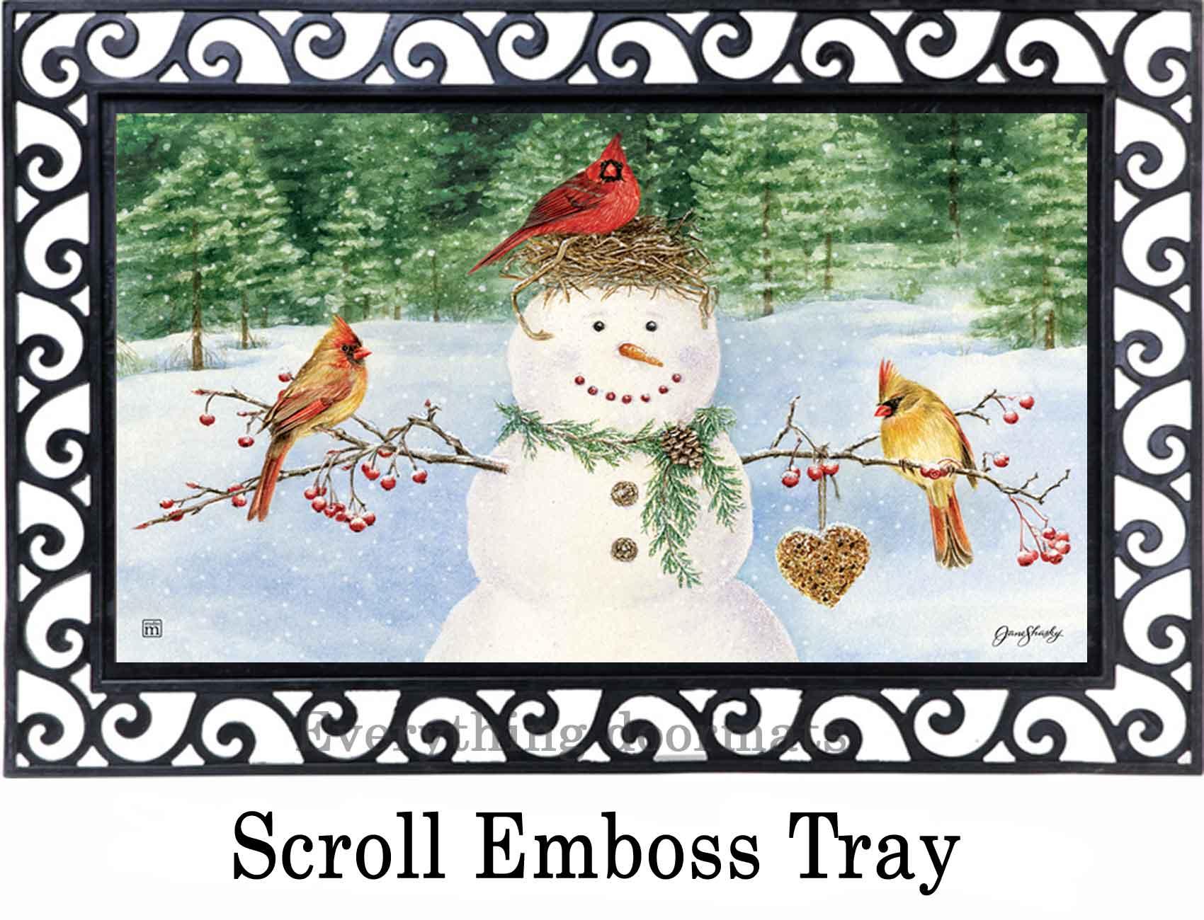 Indoor Amp Outdoor Snowman Birdfeeder Matmate Doormat 18x30