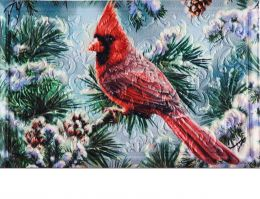 Floral Embossed Snowy Cardinal Dimension Doormat - 19 x 30