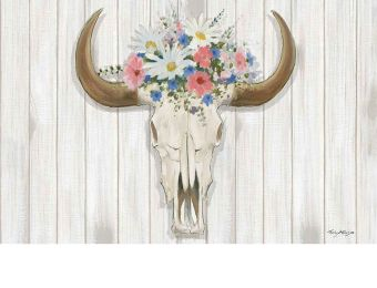 Indoor & Outdoor Steer Floral Insert Doormat - 18 x 30