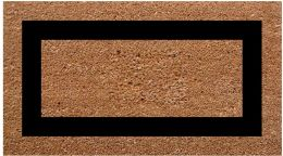 SuperScraper Single Black Picture Frame Coir Doormat-20x36