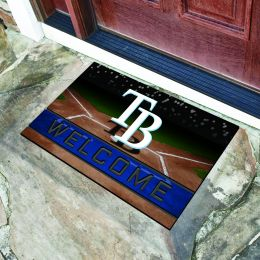 Tampa Bay Rays Flocked Rubber Doormat - 18 x 30