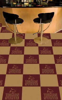 Texas State University Bobcats Team Carpet Tiles - 45 sq ft