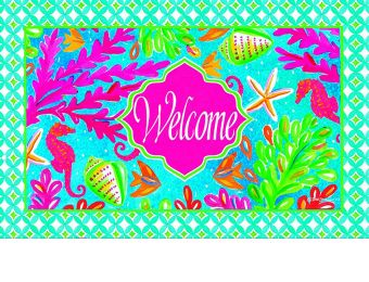 Indoor & Outdoor Tropical Welcome Insert Doormat - 18 x 30