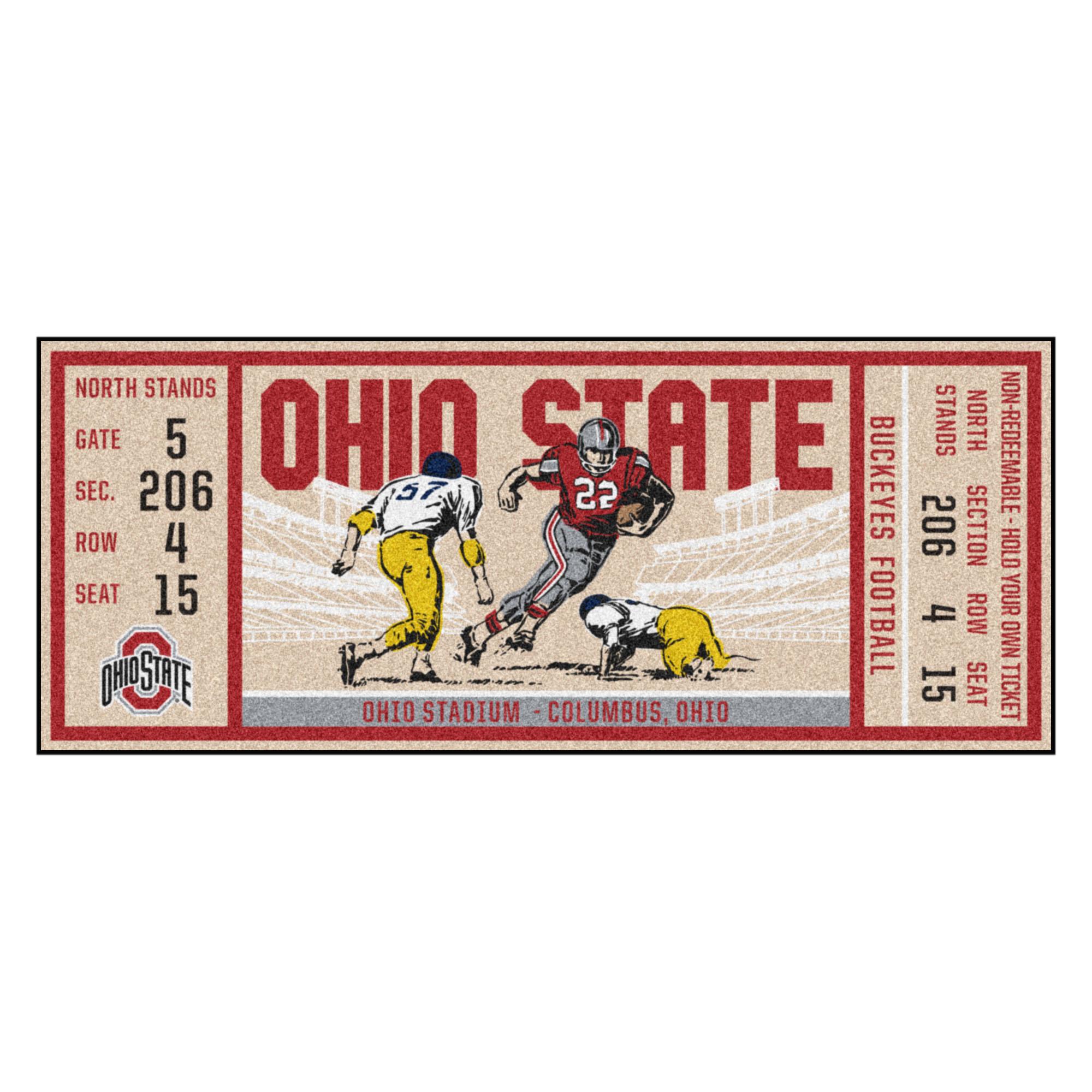 Ohio State Buckeyes Ticket Runner Mat 29 5 X 72