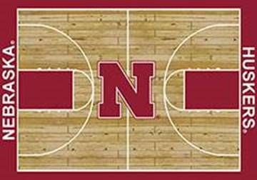 UNL Cornhuskers Basketball Home Court Nylon Area Rug