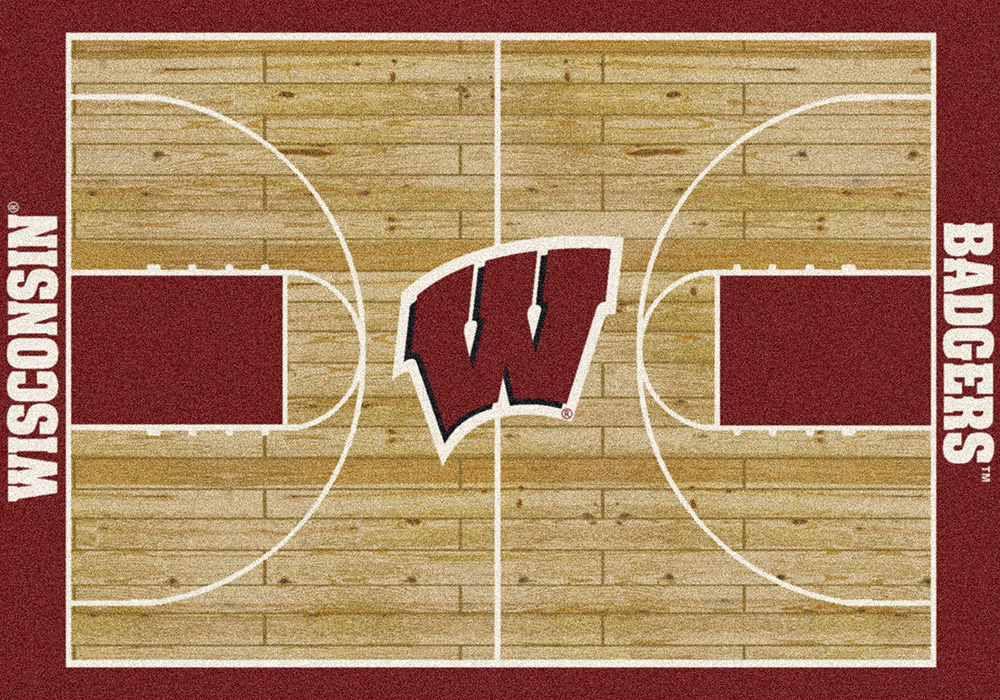 Wisconsin Badgers Basketball Home Court Nylon Area Rug