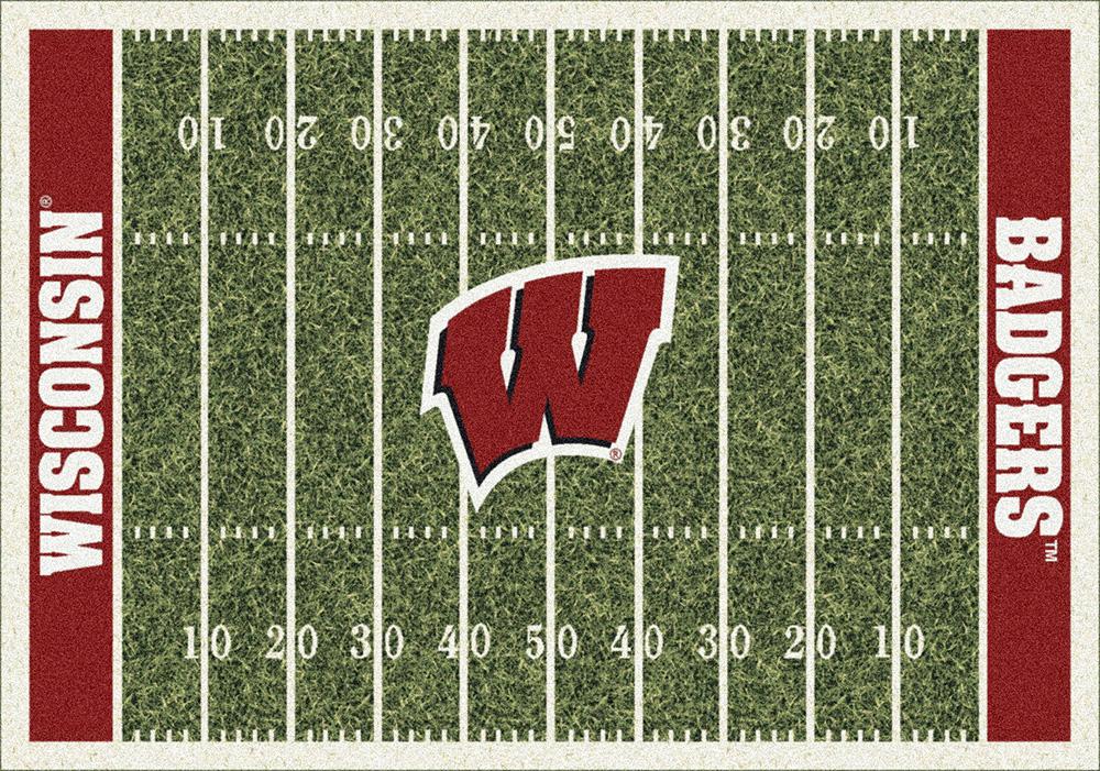 Wisconsin Badgers Home Field Area Rug Football Logo