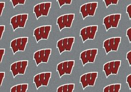Wisconsin Badgers College Logo Repeating Area Rug