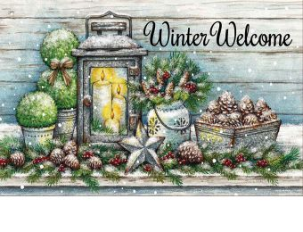 Indoor & Outdoor Warm Winter Welcome Insert Doormat-18x30