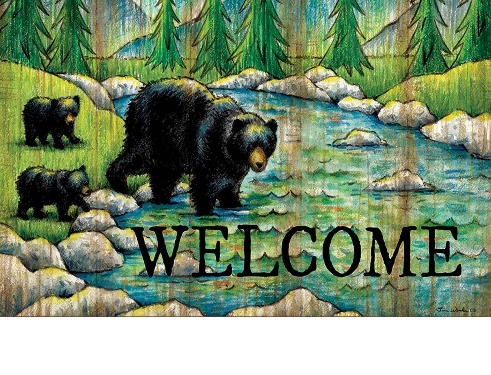 Indoor Amp Outdoor Welcome Black Bear Insert Doormat 18x30