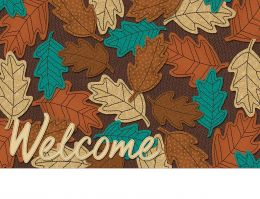 Indoor & Outdoor Welcome Fall Leaves Insert Doormat - 18x30