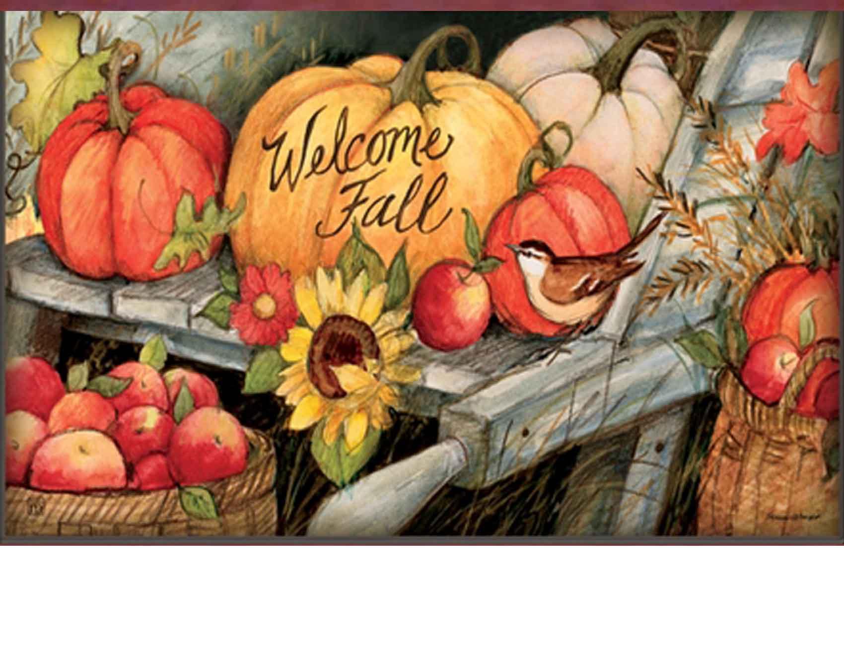 Indoor Amp Outdoor Welcome Fall Pumpkins Matmate Doormat