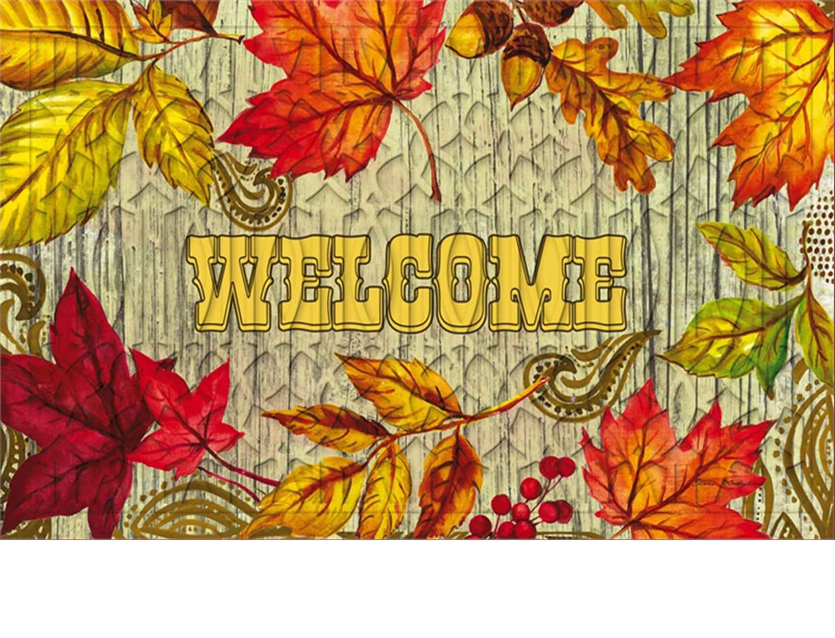 Trellis Embossed Welcome Leaves Doormat