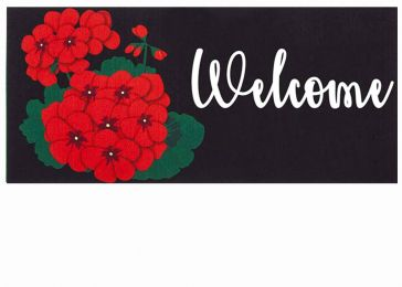 Sassafras Welcome Geraniums Mat - 10 x 22 Insert Doormat