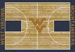 WVU Mountaineers Basketball Home Court Nylon Area Rug