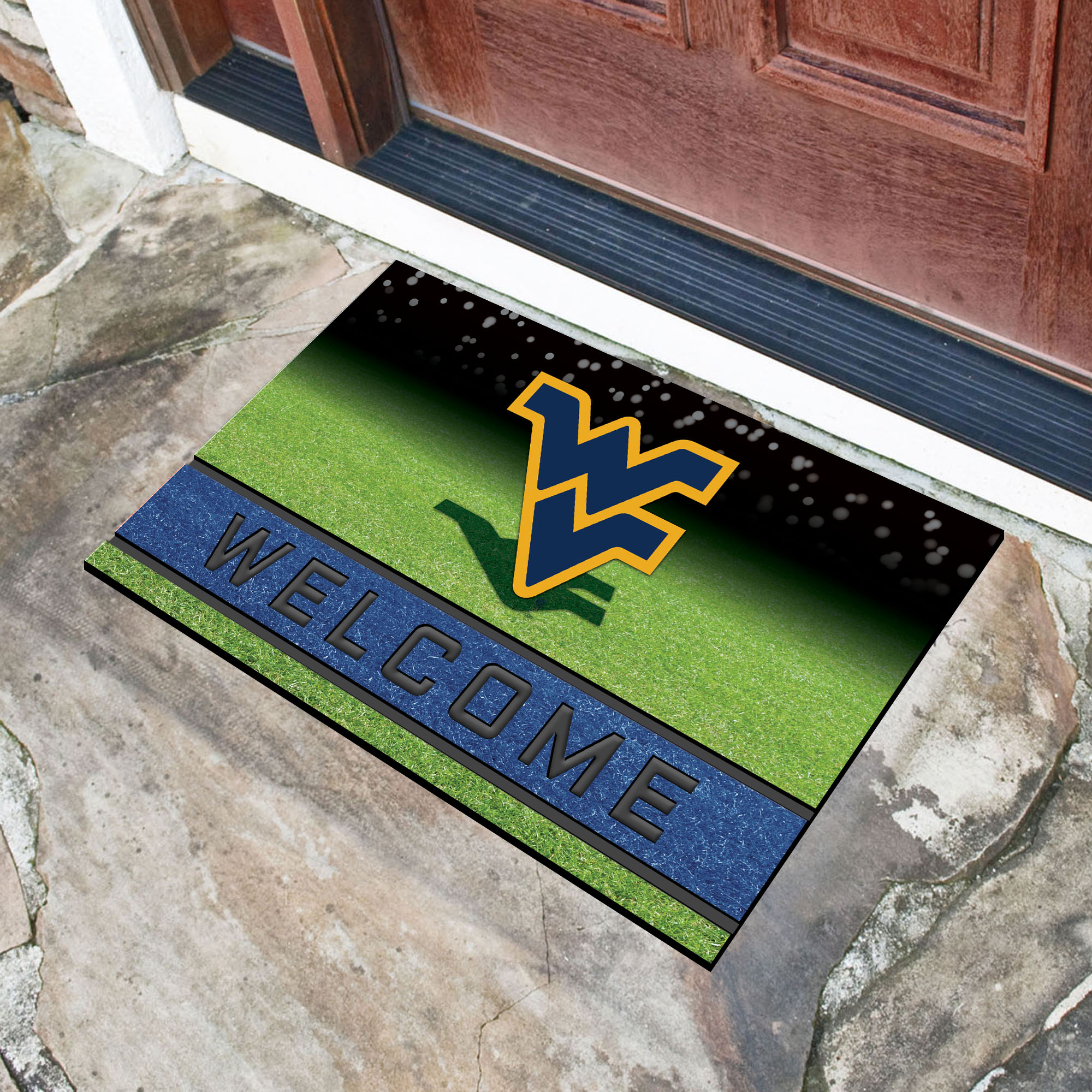 West Virginia  University Flocked Rubber Doormat - 18 x 30